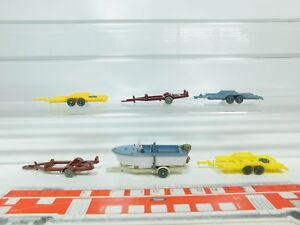 BN107-0, 5 #7x wiking H0 / 1:87 Car Trailer/Boat Trailer/ Boat, Mint