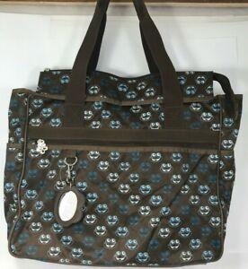LIMITED TOO BROWN / TEAL NYLON FROG PATTERN  DIAPER - TOTE BAG