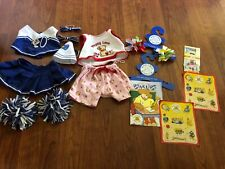 Build a Bear 2 Outfits, Cheerleader/Puppy Love, Stickers, Bows, BearLibs Hangers
