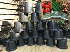 25 X 10 Litre Black Plastic Plant Pots  + 3 x Packets of Seeds