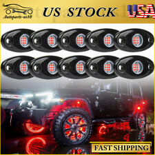 10 Pods Red Led Rock Lights Truck Offroad Atv Under glow Under Car Body Light