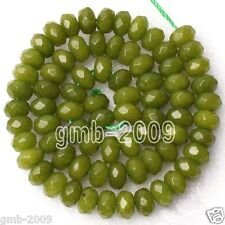"Beautiful 5x8mm Faceted Peridot Gemstone Abacus Loose Beads 15""AAA"