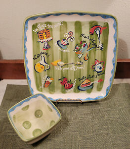 """Becky Denny Southerner Serving Platter Southern Sayings Square 11"""" w/ Bowl"""
