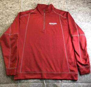 Amazon employee uniform Unisex 2X 1/4 zip pullover Burgundy Official Long Sleeve