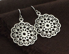 925 Sterling Silver Filigree Disc Earrings 22 mm. Polish Finished
