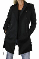 NEW (5109-1) Ladies Fully Lined Trench Coat Mac Belt Double Breasted Black 8-18