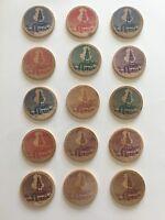 Lot  of 15 Vintage 1767-1967 Acworth NH Bicentennial Wood Nickel