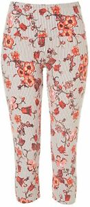 Khakis & Co Womens Suave Floral Stripe Capri Leggings