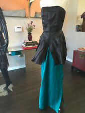 Tan Giudicelli Size 38 Teal & Black Silk Gown Long Dress Vintage - 2217-16-6819