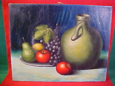 OLD VINTAGE STILL LIFE PAINTING OF FRUIT NICE COUNTRY ACCENT PIECE 1 OF 2 LISTED