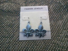 New Orleans Saints JEWELRY 6 PAIR FLEUR DE LIS PEWTER EARRINGS in Antique Silver