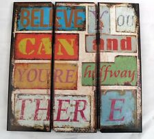 """BELIEVE YOU CAN WOODEN SIGN KITCHENALIA  SIZE 16"""" x 16"""" approx"""