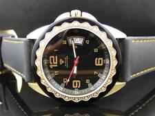 Mens Aqua Master Jojo Joe Rodeo W 334 Black and Gold Diamond Watch 43 MM
