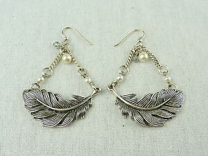 MIMCO Jewellery Faraway Feather Ear Earrings BNWT- Silver Pearl- rrp$80