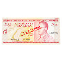 1968 Congo 50 Makuta SPECIMEN Note UNC w/ Red Ink Mark P11