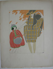 POCHOIR elegante signora ragazza moda Art Deco del 1930