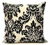 "Set of 4 cushion covers flock damask Light cream 17""x 17"""