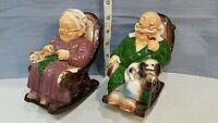 Pair of Vintage Ceramic Grandma and Grandpa Retirement Fund Piggy Banks Japan