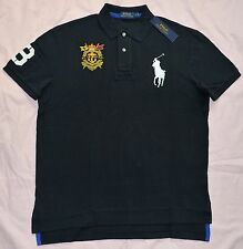 New 2XB 2XL BIG 2X POLO RALPH LAUREN Mens Big Pony flag rugby shirt top Black RL