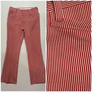 Vintage 60s 70s Haggar Red White Seersucker Pin Striped Pants Golf Disco 32 X 30