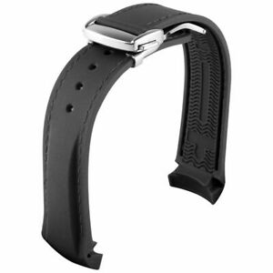 For OMEGA Seamaster 19 mm Strap Rubber/Silicone Black/Silver Buckle Watch Band