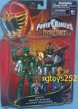 "Power Rangers Mystic Force 5"" Crystal Green Rangers Titan Megazord Exclusive NEW"