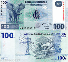 CONGO D R 100 Franc Banknote World Paper Money UNC Currency Pick p-98 Elephant