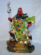 "11"" Colorful Standing Guan Gong Statue Holding Qing Long Dao"
