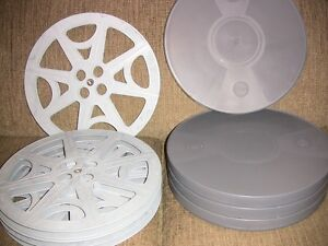 FOUR- 2000ft 16mm Plastic reels and archival cans - NEW -