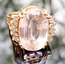 Light Baby Pink 9 Carat Kunzite Diamond 14k yellow gold ring