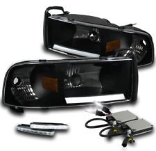 94-01 DODGE RAM LED BAR CRYSTAL BLACK HEAD LIGHT LAMP+WHITE SIGNAL DRL+6000K HID