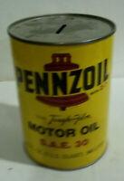 Pennzoil coin bank motor oil SAE 30 quart can
