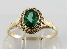 DIVINE 9K 9CT GOLD VINTAGE INS EMERALD SOLITAIRE ART DECO INS RING FREE RESIZE