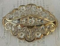 Silver Flower Brooch Floral Vintage Diamond Shaped 925 Sterling Gilt 70s Brooch