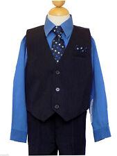 Boys Recital, Wedding, Vest Suit Set w/Pinstripe, Victoria Blue/Black,Sz: 5