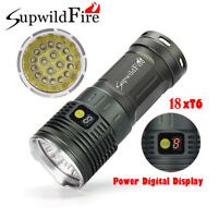 200000 LM Supwildfire 18X XML T6 LED Hunting Tactical Flashligt 4X18650 Torch HM