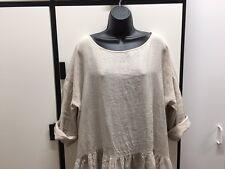 Veritecoeur Japan OS Handkerchief Linen Sand Bateau Neck Oversize Rumpled Dress