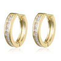 9CT GOLD CUBIC ZIRCONIA HUGGIE CZ CRYSTAL CUFF ETERNITY HOOP EARRINGS GIFT BOX