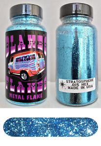 Blakes Metal Flake .015 Stratosphere Blue Hot Rod Custom automotive 2oz jar