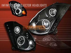 FIT FOR 2003-2005 INFINITI G35 CCFL HALO PROJECTOR LED HEADLIGHTS 2 DOOR BLACK
