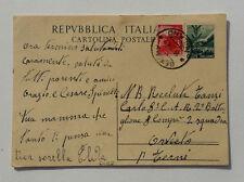 Repubblica Italiana Cartolina Postale Timbro Senago 1949 x Orvieto a Recluta