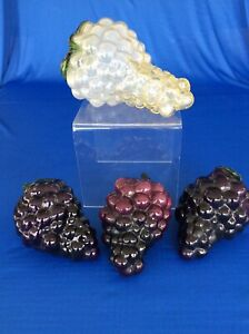 4 Murano Style Glass Red & White Grapes Clusters