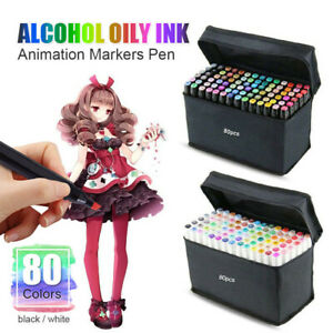 80PCS Marker Pen Set Dual Heads Graphic Artist Craft Sketch Copic TOUCH Markers