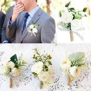 Man Suit Party Corsage Artificial Rose Bouquet Wedding Flowers Boutonniere NEW