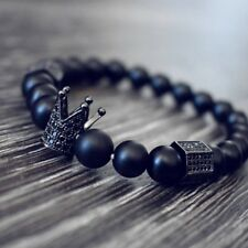 Männer Armband Krone Armbänder Schmuck Krone Stahl Perlen Armband 180-210mm HQ