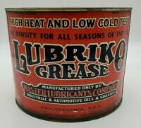 Vintage Lubriko Grease 5 lb Tin Can Great COLOR Philadelphia USA Collectors