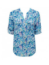 Forever New Neve Printed Roll Sleeve Blouse - Floral Blue - Size 8