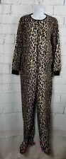 Nick & Nora medium Leopard Print Footie Pajamas cat slipper feet zip front W25