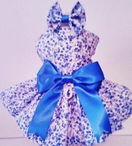 Dog dress/harness   BLUE CALICO FREE SHIPPING