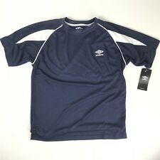 97e17cdd75a Umbro Boys Youth Performance Soccer Crew Shirt Navy Blue White Large L  Athletic